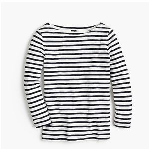 NWT J.Crew Striped Boatneck 3/4 Sleeve T-shirt
